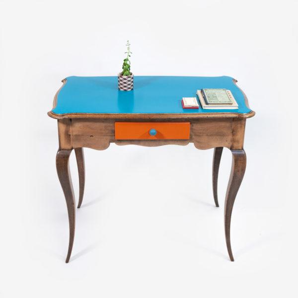 Bureau bleu tiroir orange classique bohème recyclé