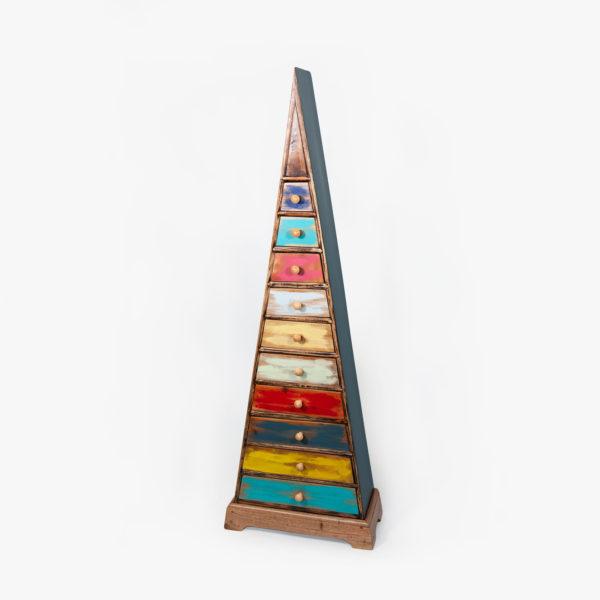 Commode multicolore en bois massif style africain recyclé