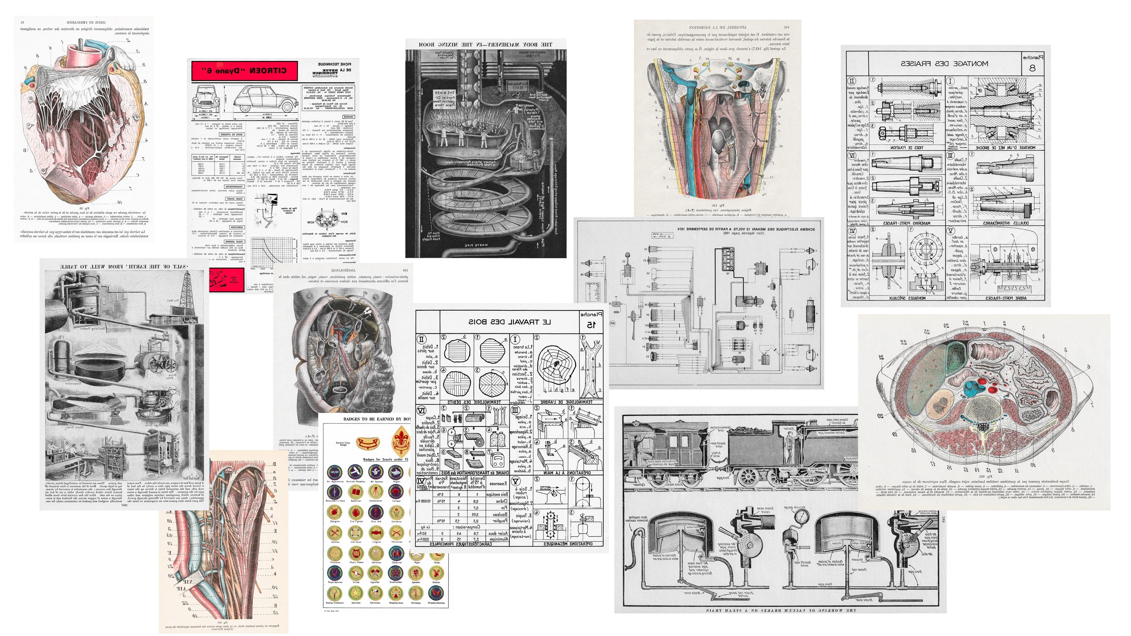 Schémas et croquis scientifiques anciens et planches techniques vintage à encadrer