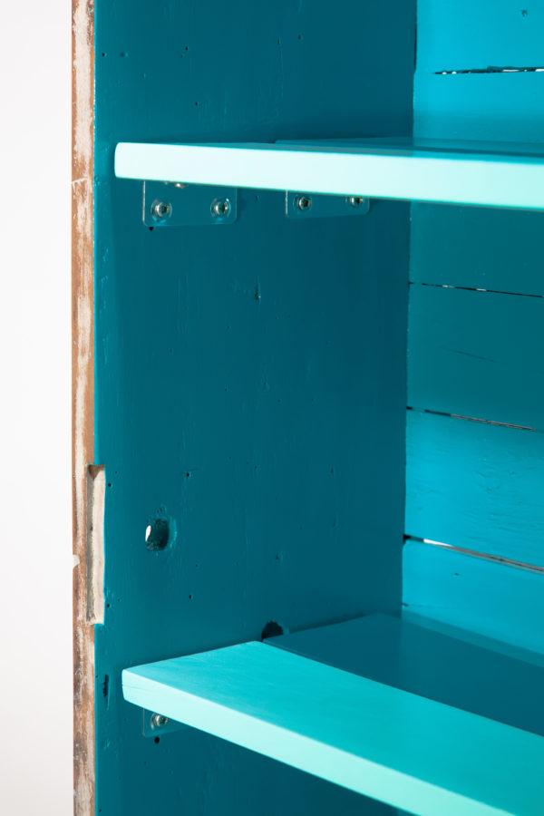 Étagère bibliothèque bleue blanche bois vieilli meuble éthique
