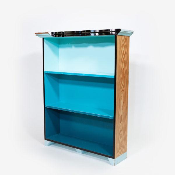 Étagère bibliothèque bois bleue écoresponsable