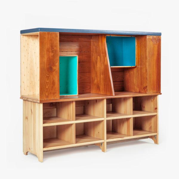 Meuble multi rangement éthique en bois massif coloré