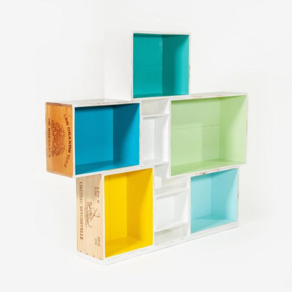 Étagère bibliothèque caisses à vin design meuble écoresponsable