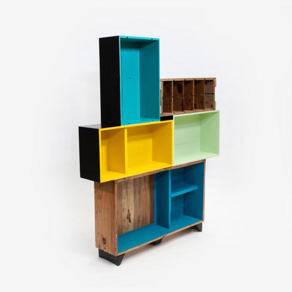 Étagère caisses jaune bleue verte bois recyclé