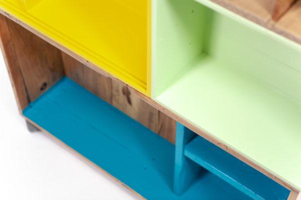 Étagère cube colorée bohème rustique bois recyclé