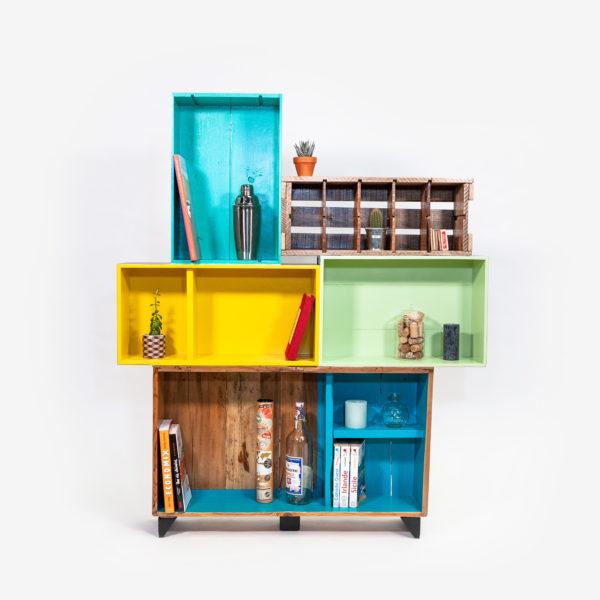 Étagère bibliothèque design unique colorée bois recyclé