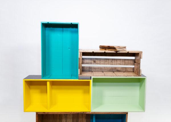 Étagère bibliothèque cube design colorée bois écoresponsable