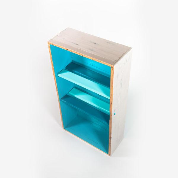 Étagère bibliothèque bleue blanche bois ancien meuble éthique