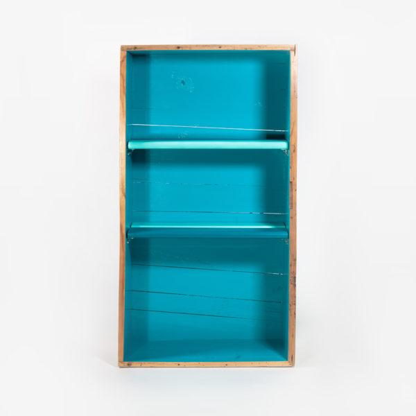 Étagère bibliothèque bleue blanche bois massif meuble éthique