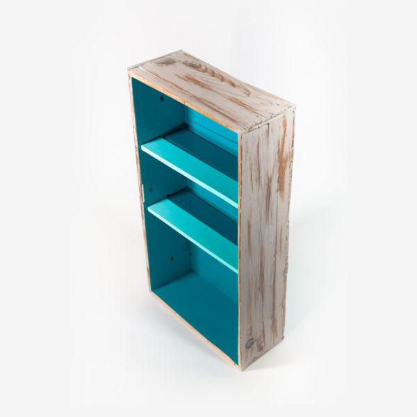 Étagère bibliothèque bleue bois vieilli meuble éthique