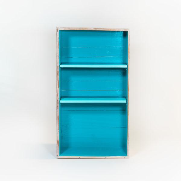 Étagère bibliothèque bleue bois massif effet vieilli meuble éthique