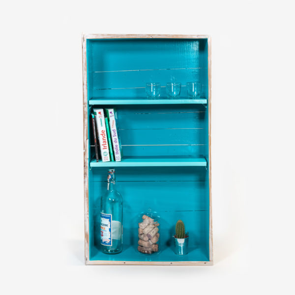 Étagère bibliothèque éthique bois massif bleue