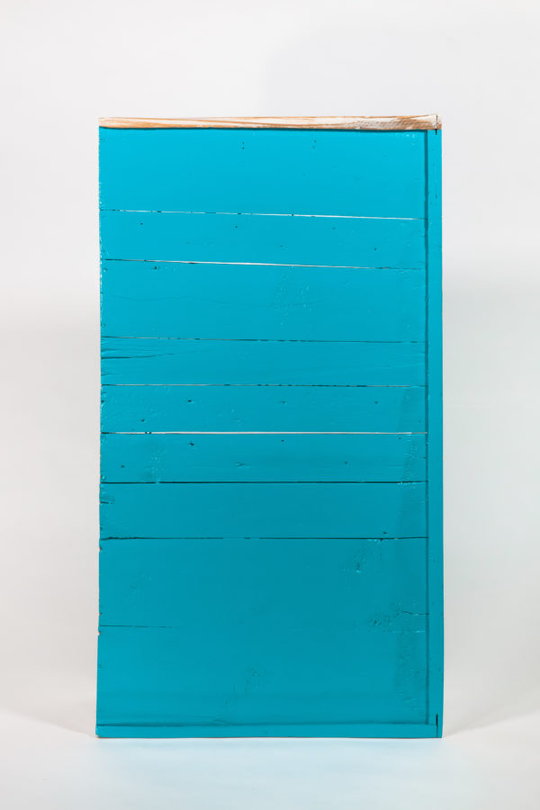Étagère bibliothèque bleue bois massif meuble éthique