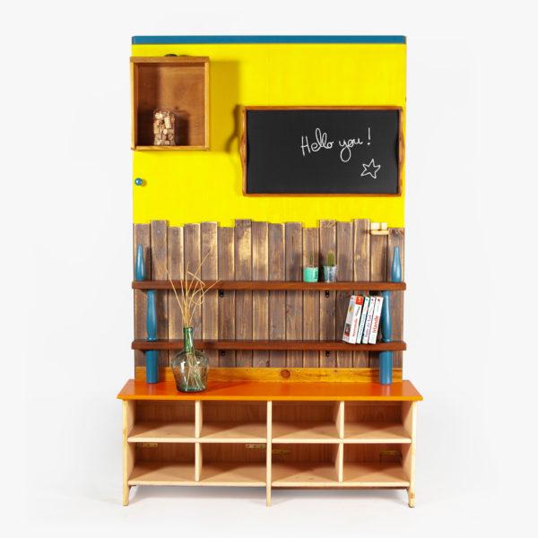 Étagère bibliothèque écologique bohème bois massif recyclé