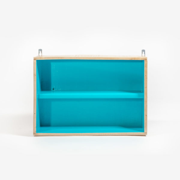 Ancienne caisse reconvertie en étagère meuble éthique upcycling