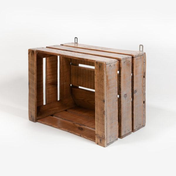 Ancienne caisse reconvertie en étagère bois naturel meuble éthique