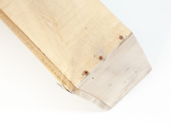 Étagère épicerie bois massif ancienne caisse fabrication artisanale