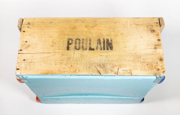 Étagère cuisine inscriptions ancienne caisse upcycling écoresponsable
