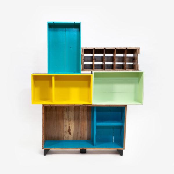 Étagère bibliothèque caisses rustique colorée bohème éthique