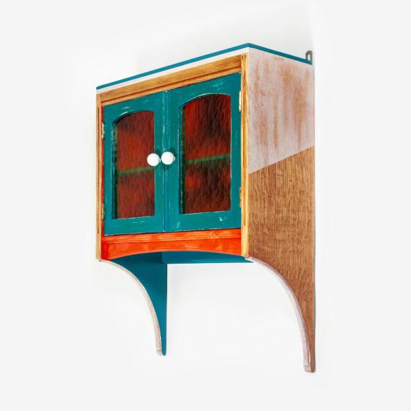 Étagère murale éthique bois massif avec portes