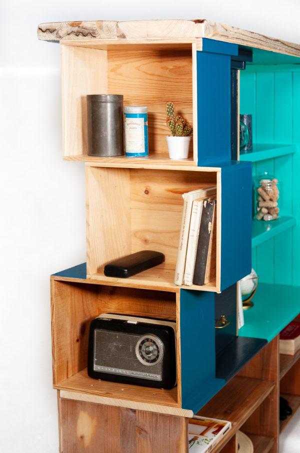 Étagère bibliothèque buffet écoresponsable bois coloré