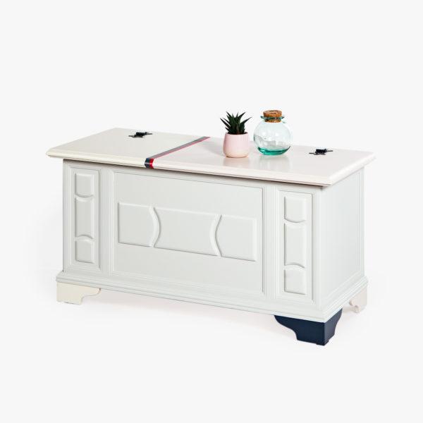 Coffre bois design couleurs pastels rose vif gris anthracite