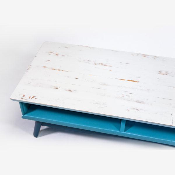 Meuble bas bois rustique bleu gris mobilier recyclé