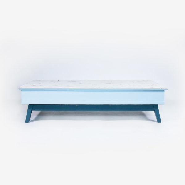 Meuble tv table basse bleue grise bois recyclé