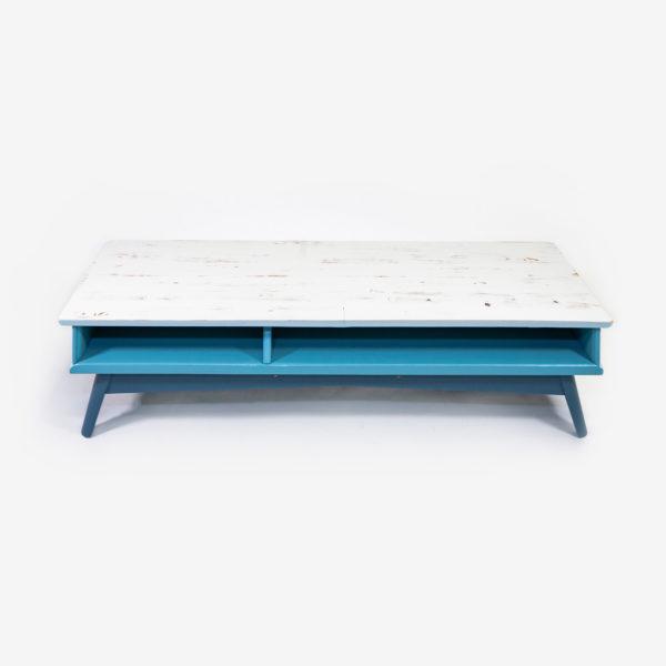 Meuble tv bleu gris scandinave bois éthique
