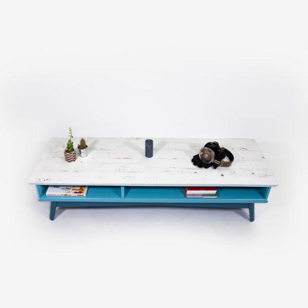 Table basse rangement intégré bleue grise bois recyclé