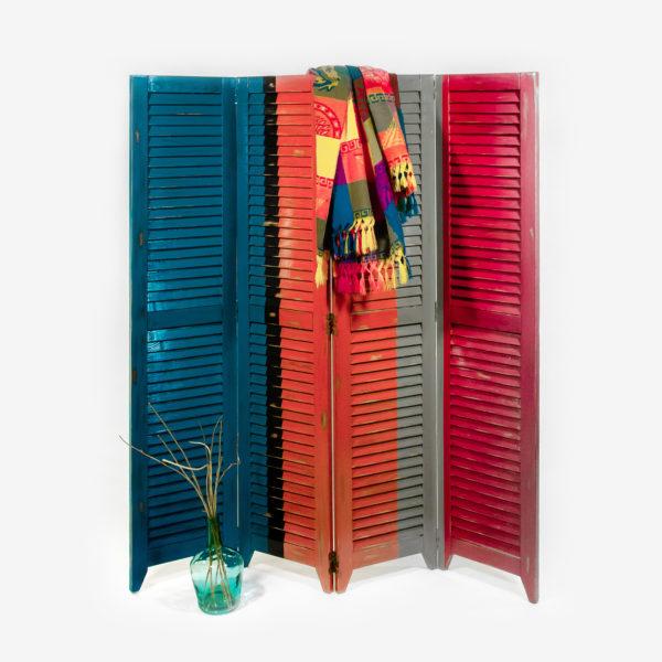 Paravent design bois massif coloré effet vieilli meuble éthique