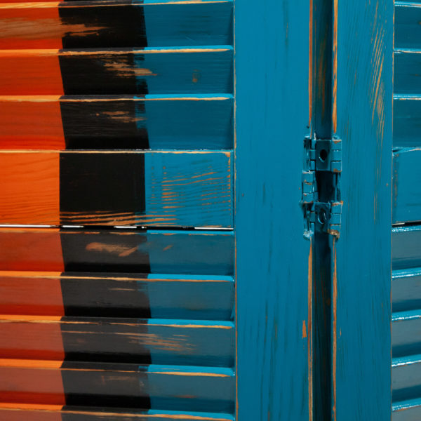Paravent intérieur bois massif coloré effet vieilli meuble éthique