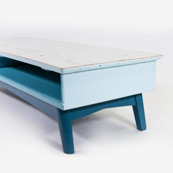 Meuble bas rangement intégré bleu gris bois écoresponsable