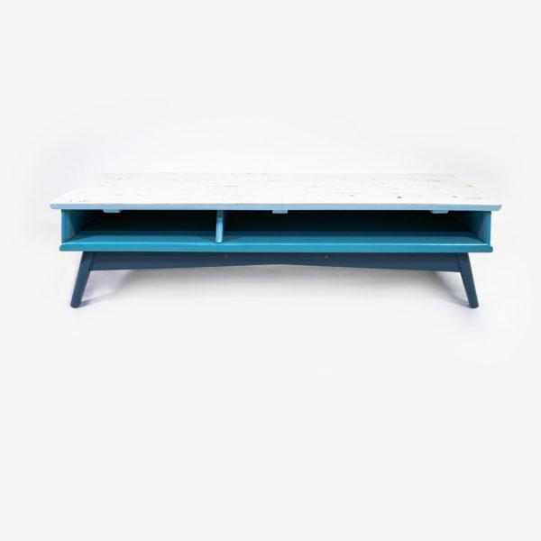 Table basse scandinave bleue grise bois meuble éthique