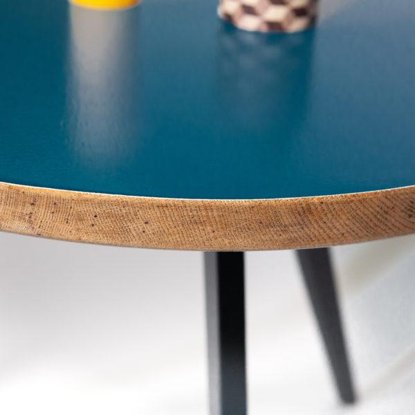 Table basse tripode bleue chêne massif