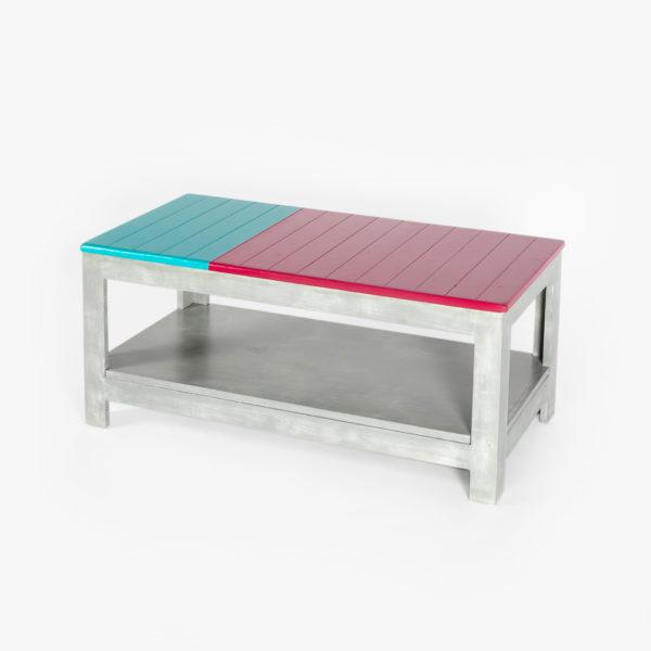 Table basse écoresponsable à deux niveaux en bois rouge, vert et gris