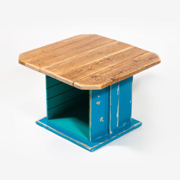 Table basse carrée bois ancien rangement intégré fabrication responsable