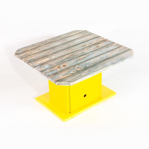 Table basse bois vieilli rangement intégré meuble éthique