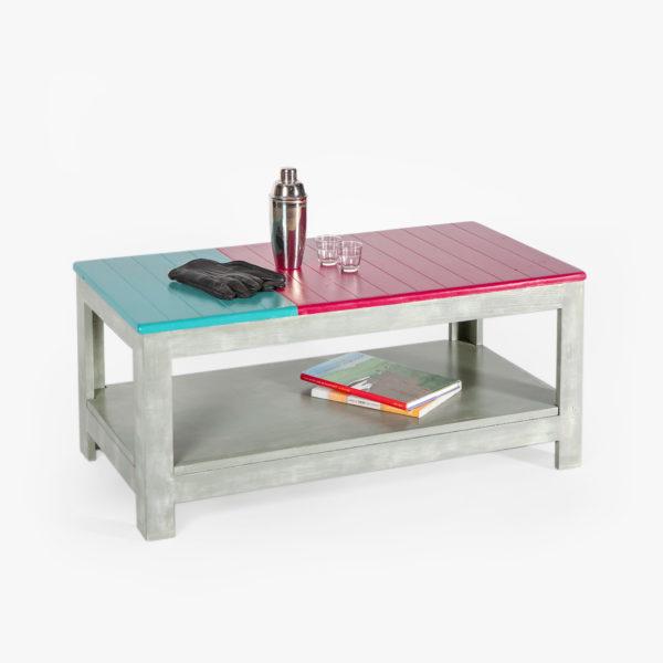 Table basse à deux niveaux bois massif éthique