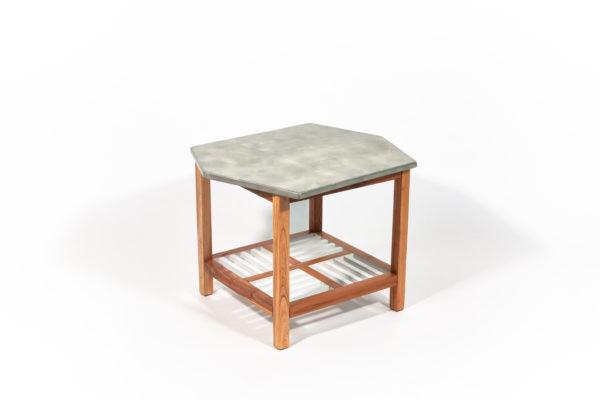 Table basse bois exotique effet marbre écoresponsable