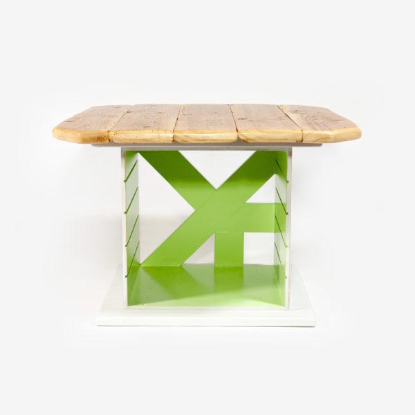 Table basse carrée bois massif verte grise rangement meuble éthique