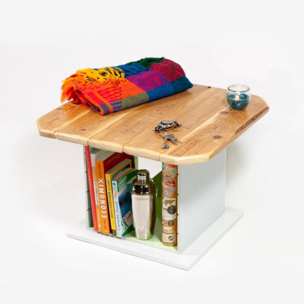 Table basse carrée bois massif range bouteille meuble éthique