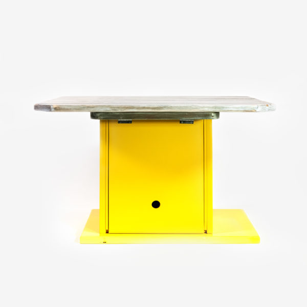 Table basse bois massif rangement intégré écoresponsable upcycling