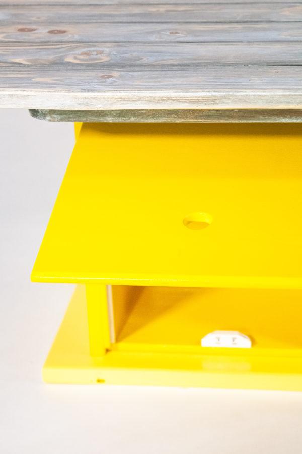 Table basse bois vieilli rangement intégré meuble éthique upcycling