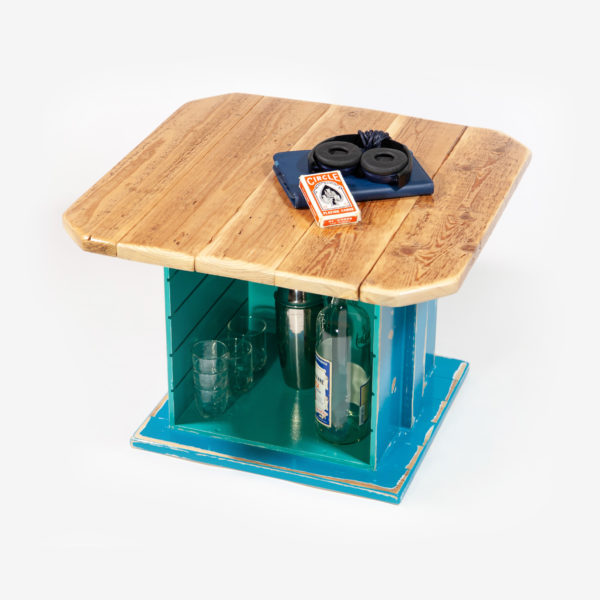 Table basse carrée bois massif rangement intégré fabrication responsable