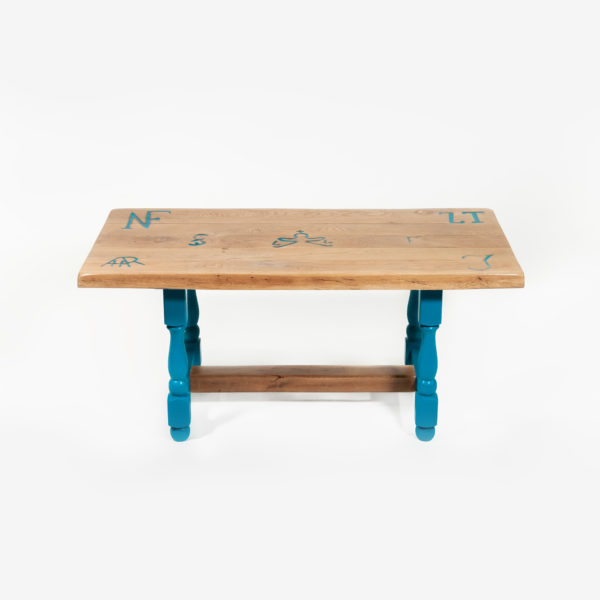 Table basse rectangulaire chêne massif inscriptions meuble responsable