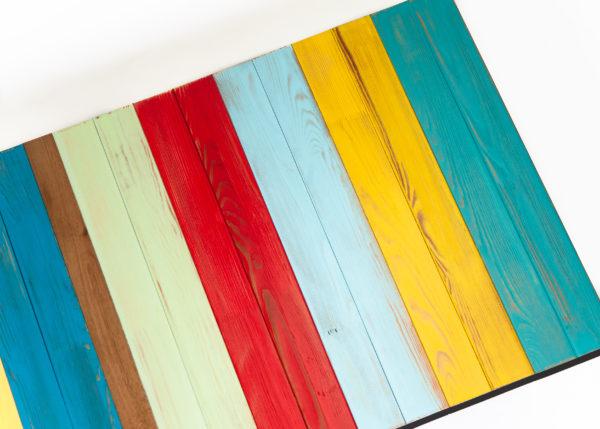 Table basse colorée bois rustique recyclé