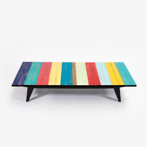 Table basse bois multicolore pieds compas écoresponsable