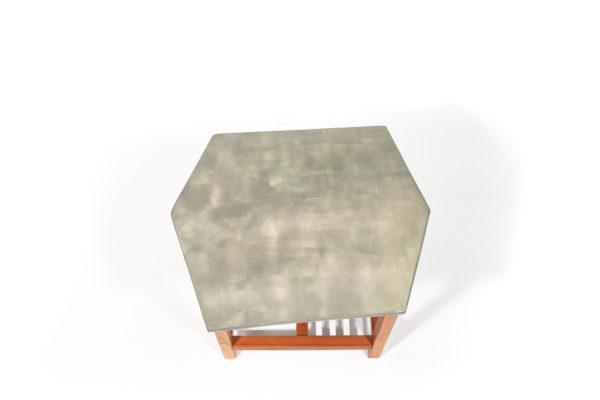 Table basse bois exotique effet pierre écoresponsable