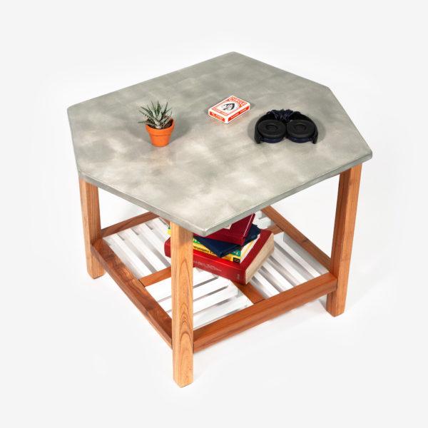 Table basse bois exotique design effet marbre écoresponsable